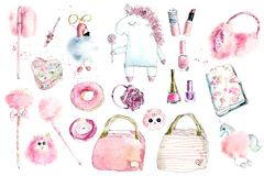 Fluffy pink. Set. Watercolor hand drawn iluustration vector illustration