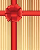 Fluffy red bow over stripes Royalty Free Stock Images