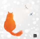 Fluffy red cat watching two dragonflies. Traditional oriental ink painting sumi-e, u-sin, go-hua on white glowing Stock Photo