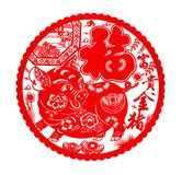 Fluffy red flat paper-cut sticker on white as symbol of Chinese New Year of the pig. The Chinese means good luck and rich