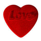 Fluffy red heart with inscription Stock Photo