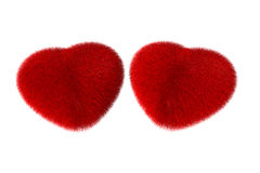Fluffy red hearts Stock Photography