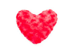 Fluffy red plush heart isolated on white background Stock Photography