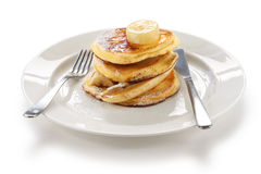 Fluffy ricotta pancakes with banana Royalty Free Stock Photo