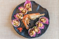 Fluffy River Prawn in Lotus Flower Leave served with Spicy and S Stock Photos