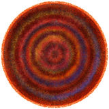 Fluffy round weave carpet with grunge striped circular wavy colorful pattern Stock Photography