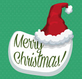 Fluffy Santa's Hat on Speech Bubble with Merry Christmas Message, Vector Illustration stock images