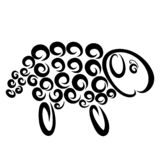 Fluffy sheep with wool from spirals, pattern.  vector illustration