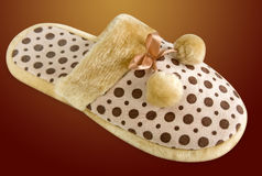Fluffy slipper. On a colorful background, including clipping path stock photography