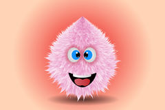 Fluffy smiling monster drawing vector illustration. Unique Royalty Free Stock Photos