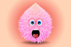 Fluffy smiling monster drawing vector illustration. Unique Stock Image