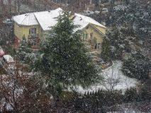 Snow before Christmas in a neighborhood royalty free stock photography