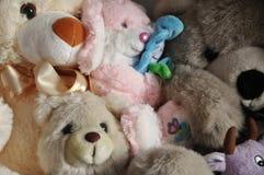 Fluffy soft snimal toys background Stock Image