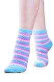 Fluffy striped socks Royalty Free Stock Image
