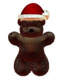 Fluffy Teddy Bear with Christmas Santa Hat Stock Photo