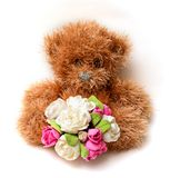 Fluffy Teddy bear with flowers Stock Images