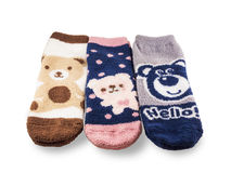 Fluffy terry socks royalty free stock photography