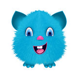 Fluffy toy monster sticker. Fur toy with smile Royalty Free Stock Images