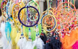 Fluffy variety of dream catchers royalty free stock images