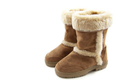 Fluffy warm boots Royalty Free Stock Photos