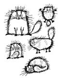 Fluffy white cats collection, sketch for your design Royalty Free Stock Photography