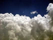 Fluffy white clouds. Under beautiful sky stock photography
