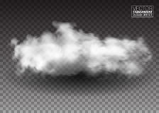 Fluffy white clouds. Realistic vector design elements. smoke effect on  transparent background. Vector illustration Royalty Free Stock Photos