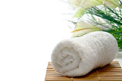 Fluffy White Cotton Hand Towel in a Spa Stock Photo