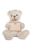 Fluffy white teddy bear with a card Royalty Free Stock Image