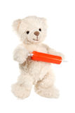 Fluffy white teddy bear with a syringe Stock Photography
