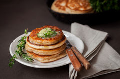 Fluffy Wholemeal Pancakes with Herbed Butter Stock Photos