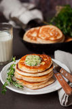 Fluffy Wholemeal Pancakes with Herbed Butter Stock Photo