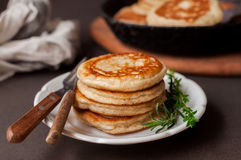 Fluffy Wholemeal Pancakes. On a White Plate Stock Images