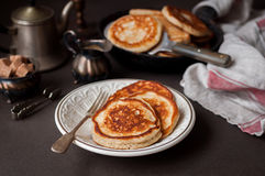 Fluffy Wholemeal Pancakes. On a White Plate Stock Photography