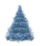 Fluffy winter fir-tree by New year. The frozen blue spruce on a white background Stock Photo