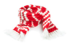 Fluffy woolen scarf isolated on white background Stock Images