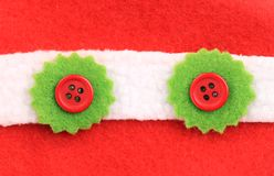 Fluffy xmas buttons on row. Royalty Free Stock Photography