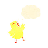 Fluffy yellow chick cartoon Stock Photography