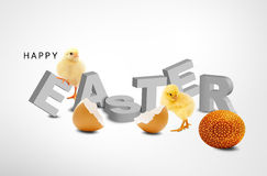 Easter egg. A fluffy yellow chick coming out of an easter egg shell Vector Illustration