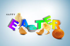 Easter egg. A fluffy yellow chick coming out of an easter egg shell Stock Illustration