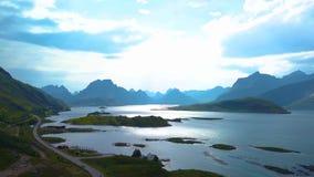 Flug über dem Fjord von Norwegen stock footage