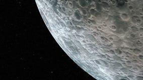 Flug über der Oberfläche des Mondes auf Sternhintergrund Loopable lizenzfreie abbildung