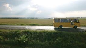 Flug über der Straße mit einem Bus stock video footage