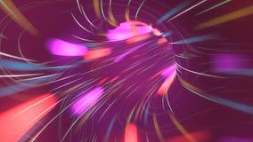 Flug über Neonlichttunnel Cyberspace Wormhole sci FI-Raumfahrt 3d übertragen Bewegungsentwurf des Raumschiffverzerrungsfluges lizenzfreie abbildung
