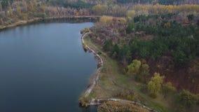 Flug über See und Wald stock footage