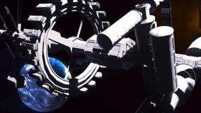 Flug der Raumstation über der blauen Erde lizenzfreie abbildung