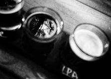Flug des Handwerks-Bieres Stockfotografie