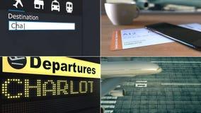 Flug nach Charlotte Reisen zur Begriffsmontageanimation Vereinigter Staaten stock footage