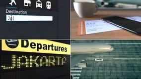 Flug nach Jakarta Reisen Indonesien-zur Begriffsmontageanimation stock video footage