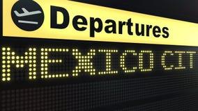 Flug nach Mexiko City auf Abfahrtstafel des internationalen Flughafens Reisen zu Mexiko-Begriffs-Wiedergabe 3D Stockbilder